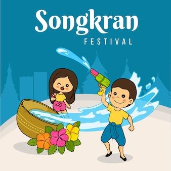 Koncepcja rysunek festiwalu songkran