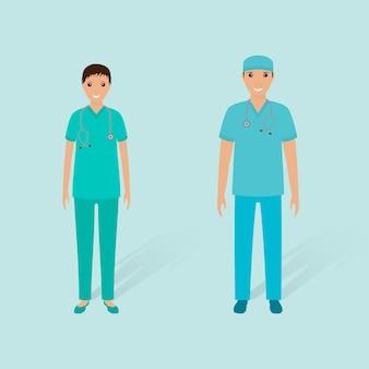 Koncepcja rzeczy w szpitalu. para męskiego uporządkowanego ande żeńska pielęgniarka na białym tle. płaski styl