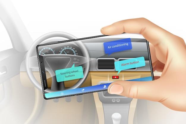 Koncepcja rzeczywistości rozszerzonej z realistyczną ilustracją wnętrza samochodu smartfona