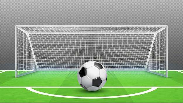 Koncepcja rzutu karnego. piłka nożna . realistyczne bramki do piłki nożnej na białym tle na przezroczystym tle