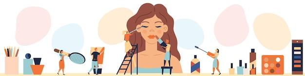 Koncepcja salonu piękności. drobne postacie robią makijaż na manekin kobiecy.