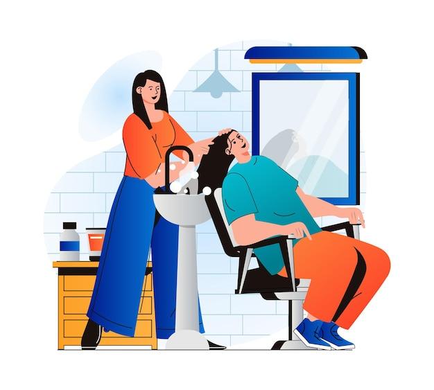 Koncepcja salonu piękności w nowoczesnej płaskiej konstrukcji fryzjer myje włosy klienta przed strzyżeniem