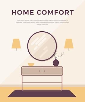 Koncepcja salonu z klasycznymi, nowoczesnymi meblami: kinkiety, stolik nocny, okrągłe lustro, wazon. , styl minimalistyczny. projekt wnętrz domu.