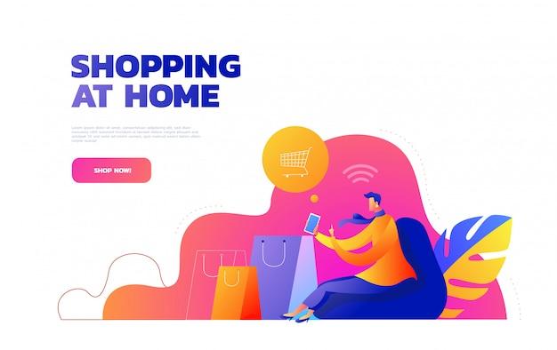 Koncepcja samoizolacji. młoda dziewczyna robi zakupy online z domu podczas covid-19. zakupy online z domu podczas kwarantanny. ilustracja.