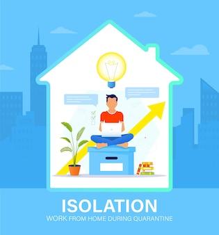Koncepcja samoizolacji. młody mężczyzna pracujący w domu