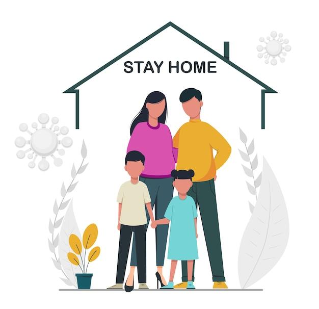 Koncepcja Samoizolacji Zostań W Domu Rodzina Podczas Epidemii Koronawirusa Premium Wektorów