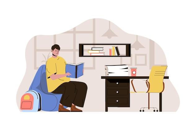 Koncepcja samokształcenia student czyta książkę studiując przedmioty w domu