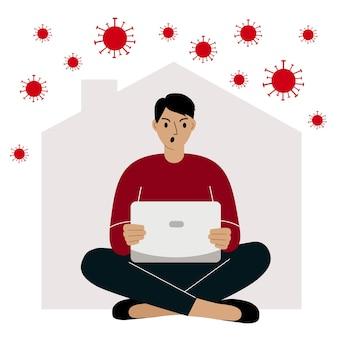 Koncepcja samokwarantanny praca w domu podczas epidemii wirusa osoba pracująca na laptopie
