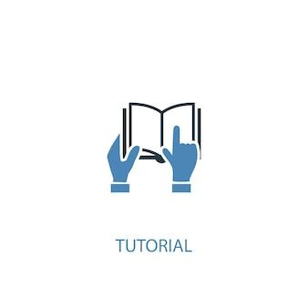 Koncepcja samouczek 2 kolorowa ikona. prosta ilustracja niebieski element. samouczek koncepcja symbol projekt. może być używany do internetowego i mobilnego interfejsu użytkownika/ux
