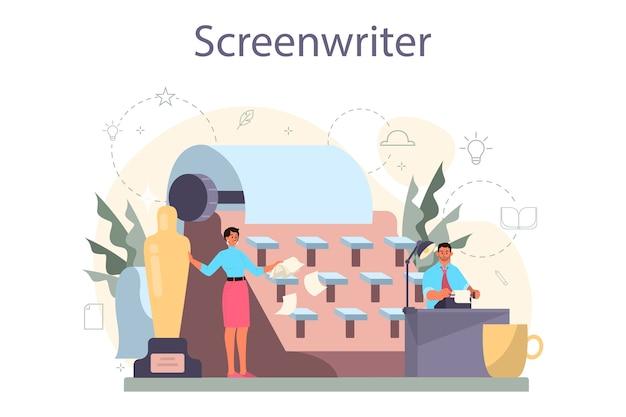 Koncepcja scenarzysty. osoba tworzy scenariusz do filmu. autor pisze nowy scenariusz do kinematografii. przemysł hollywoodzki. ilustracja na białym tle wektor