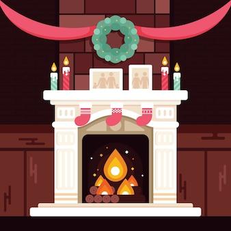 Koncepcja sceny bożego narodzenia kominek w płaski kształt
