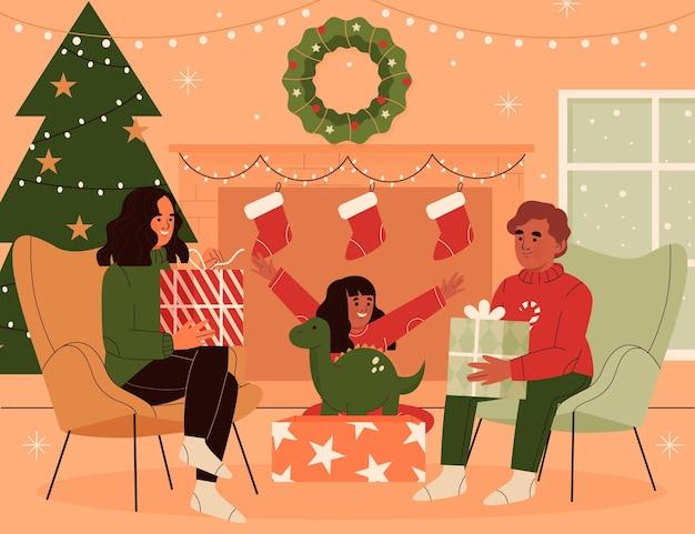 Koncepcja sceny prezenty świąteczne