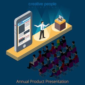 Koncepcja sceny promocyjnej prezentacji produktu elektronicznego na smartfony.