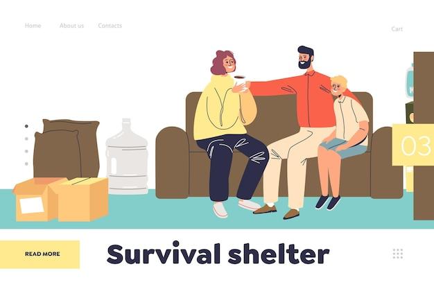 Koncepcja schronienia przetrwania strony docelowej z rodzicami i dzieckiem w tajnym podziemnym bunkrze. przerażona rodzina ukrywająca się przed katastrofą wojskową lub naturalną w piwnicy. ilustracja kreskówka płaski wektor