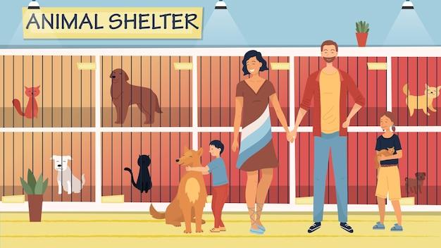 Koncepcja schroniska dla bezpańskich zwierząt. mili ludzie pomagają bezdomnym zwierzętom. rodzina adoptująca psa i kota ze schronienia. ilustracja ze zwierzętami siedzącymi w klatkach.