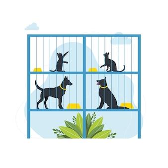 Koncepcja schroniska dla zwierząt. samotne zwierzęta w klatkach czekają na adopcję. centrum rehabilitacji lub adopcji dla bezdomnych zwierząt. ośrodek adopcyjny dla zwierząt bezdomnych i bezdomnych. słodkie koty, samotne psy.