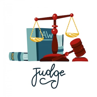 Koncepcja sędziego w stylu cartoon płaski. wagi sprawiedliwości i drewniany młotek sędziego. prawo młotek znak z książek prawa. symbol aukcji prawa.