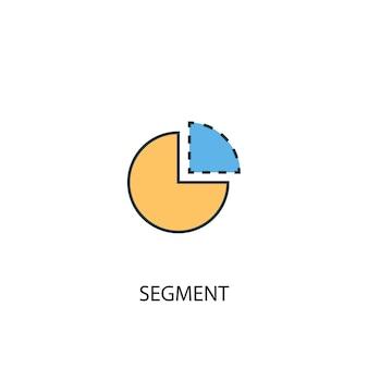 Koncepcja segmentu 2 kolorowa ikona linii. prosta ilustracja elementu żółty i niebieski. koncepcja segmentu zarys symbolu projekt