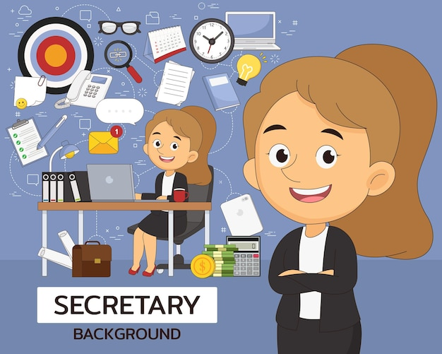 Koncepcja sekretarza . płaskie ikony.