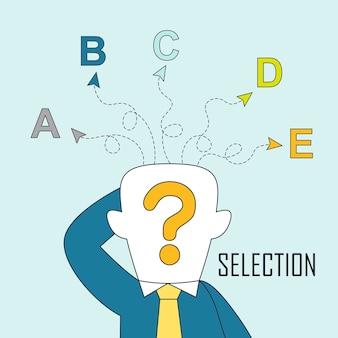 Koncepcja selekcji: mężczyzna jest zdezorientowany różnymi wyborami w stylu linii
