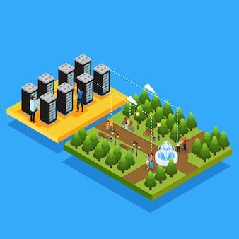 Koncepcja serwerów hostujących izometryczne centra danych z ludźmi korzystającymi z technologii chmury na swoich urządzeniach przenośnych w parku na białym tle