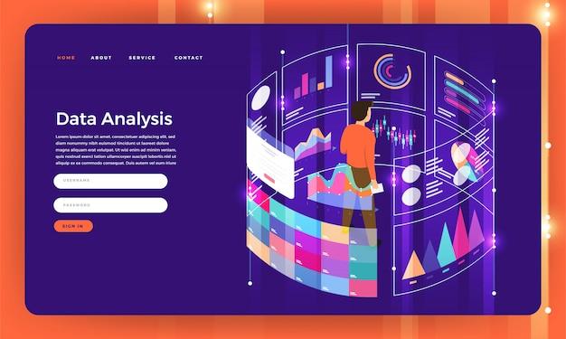 Koncepcja serwisu internetowego analiza danych marketingu cyfrowego z wykresem. ilustracja.