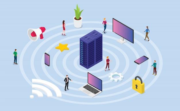 Koncepcja sieci bezprzewodowej z różnymi technologiami urządzeń i internetem