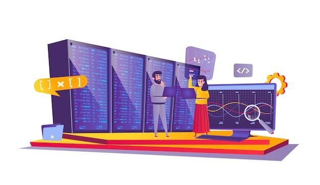 Koncepcja sieci centrum danych w stylu cartoon