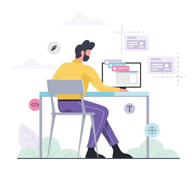 Koncepcja sieci i programowania. mężczyzna siedzący przy biurku