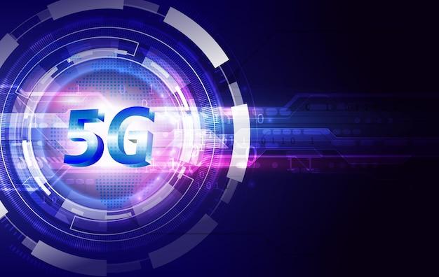 Koncepcja sieci komunikacyjnej 5g i tło technologii. szybki internet i połączenie.