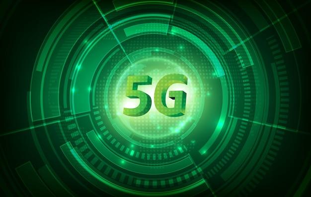 Koncepcja sieci komunikacyjnej 5g i zielone tło technologii. szybki internet i połączenie.