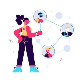 Koncepcja sieci, młody męski charakter łączący ze sobą różnych członków