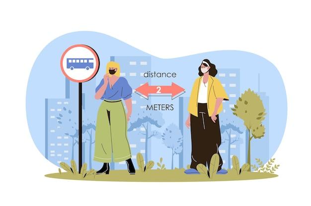 Koncepcja sieci na odległość społeczną kobiety w maskach medycznych utrzymują dystans stojąc na dworcu autobusowym