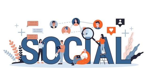 Koncepcja sieci społecznej. komunikacja i połączenie na całym świecie za pomocą urządzenia cyfrowego. globalna społeczność różnych ludzi. koncepcja technologii na całym świecie. ilustracja