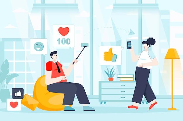 Koncepcja sieci społecznej w płaskiej konstrukcji ilustracja postaci osób na stronę docelową