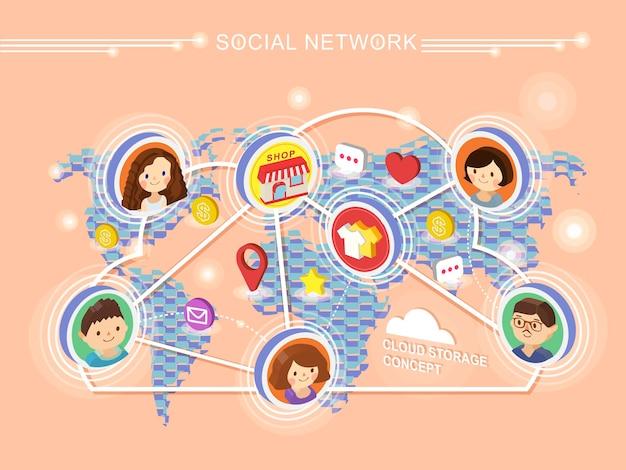 Koncepcja sieci społecznościowej 3d izometryczna infografika z mapą świata