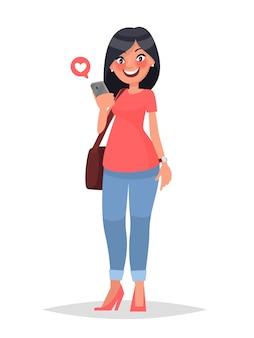 Koncepcja sieci społecznościowej komunikacji wirtualnej. dziewczyna patrzy w smartfonie.