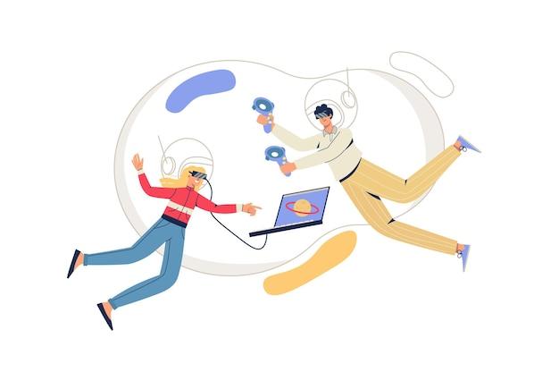 Koncepcja sieci web cyberprzestrzeni. mężczyzna i kobieta w okularach vr latają w wirtualnej rzeczywistości. interaktywne gry, szkolenia z nowoczesnymi technologiami minimalna scena ludzi. ilustracja wektorowa w płaskiej konstrukcji na stronie internetowej