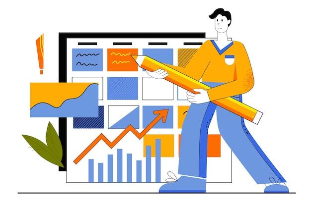 Koncepcja sieci web harmonogram firmy. pracownik opracowuje plan pracy i strategię planowania. człowiek wykonuje zadania i zaznacza daty w kalendarzu.