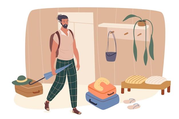 Koncepcja sieci web lato podróży. człowiek z walizkami stoją w korytarzu i jedzie na wakacje. podróżny wybiera się do ośrodka na wakacje?