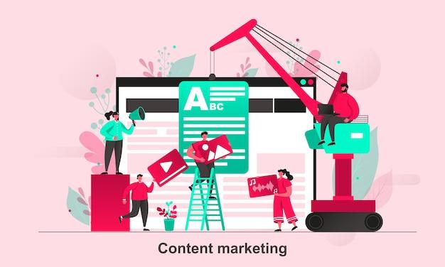 Koncepcja sieci web marketingu treści w stylu płaskiej z postaciami małych ludzi