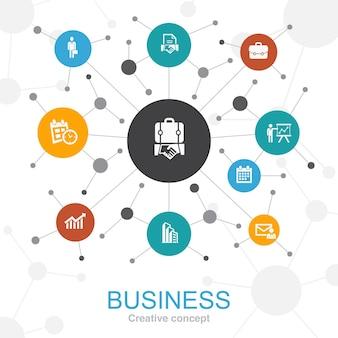 Koncepcja sieci web modny biznes z ikonami. zawiera takie ikony jak biznesmen, teczka, kalendarz, wykres