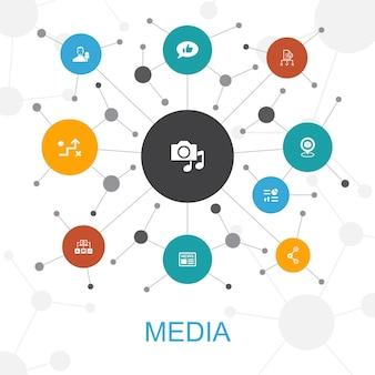 Koncepcja sieci web modny mediów z ikonami. zawiera ikony takie jak news, reporter, infografika, media plan