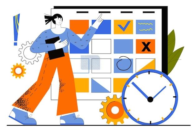 Koncepcja sieci web planowania biznesowego. pracownik opracowuje plan pracy. kobieta wykonuje zadania i zaznacza daty w kalendarzu. zarządzanie czasem.