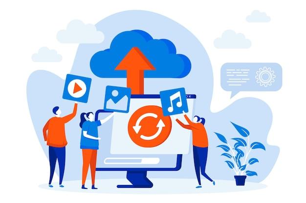 Koncepcja sieci web przechowywania w chmurze z ilustracją postaci ludzi