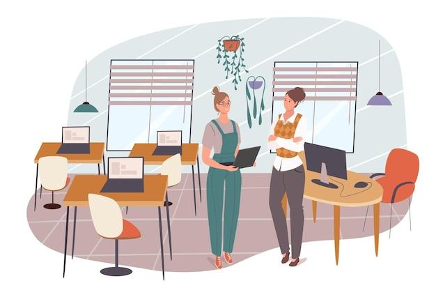 Koncepcja sieci web szkoły. student uczy się na lekcji informatyki w klasie. nauczyciel rozmawia z uczniem. nauka i edukacja