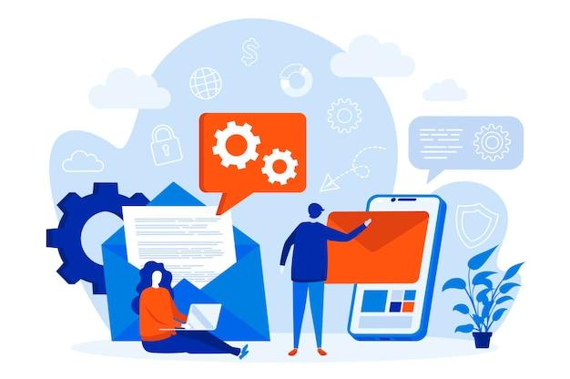 Koncepcja sieci web usługi mobilnej poczty e-mail z ilustracji postaci ludzi