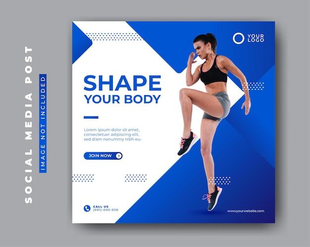 Koncepcja siłowni i fitness szablon transparent postu mediów społecznościowych