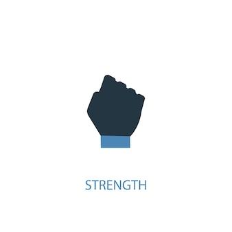 Koncepcja siły 2 kolorowa ikona. prosta ilustracja niebieski element. projekt symbolu koncepcji siły. może być używany do internetowego i mobilnego interfejsu użytkownika/ux