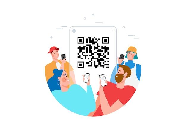 Koncepcja skanowania kodu qr z ludźmi skanującymi kod za pomocą smartfona do płaskiej ilustracji płatności. ręka z pnone i skanującym kodem kreskowym